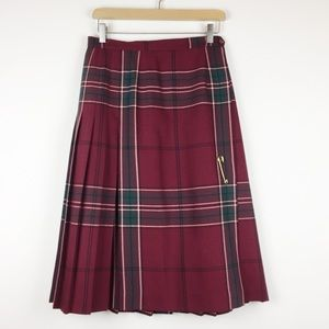 Vintage maroon wool kilt midi skirt Highland Queen